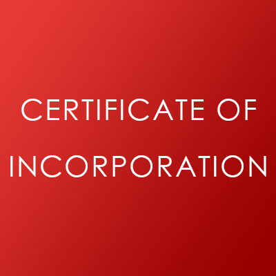 Certficate of Incoporation Document